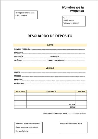 Documento resguardo de depósito de tacógrafo