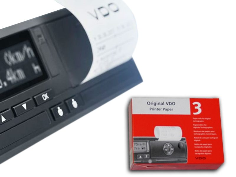 El papel térmico de impresión VDO garantiza la legibilidad de las impresiones del tacógrafo durante más de tres años